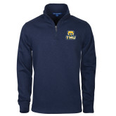 Navy Slub Fleece 1/4 Zip Pullover-Primary Logo