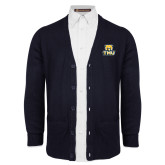 Navy V Neck Cardigan w/Pockets-Primary Logo