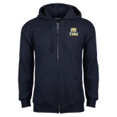 Navy Fleece Full Zip Hood-Primary Logo