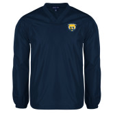 V Neck Navy Raglan Windshirt-Bear Head