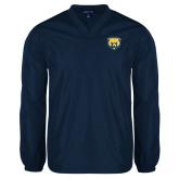 V Neck Navy Raglan Windshirt-Bear Head