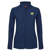 Ladies Fleece Full Zip Navy Jacket-Bear Head