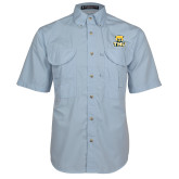 Light Blue Short Sleeve Performance Fishing Shirt-Primary Logo