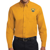 Gold Twill Button Down Long Sleeve-Bear Head