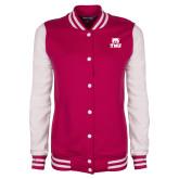 Ladies Pink Raspberry/White Fleece Letterman Jacket-Primary Logo
