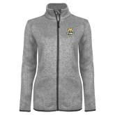 Grey Heather Ladies Fleece Jacket-Primary Logo