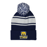 Navy/White Two Tone Knit Pom Beanie with Cuff-Primary Logo