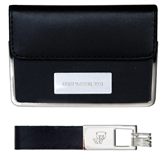Business Card Case and Key Ring Set Black-Truett McConnell Bears Engraved