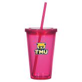 Madison Double Wall Pink Tumbler w/Straw 16oz-Primary Logo