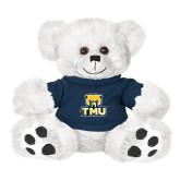 Plush Big Paw 8 1/2 inch White Bear w/Navy Shirt-Primary Logo