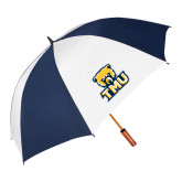 62 Inch Navy/White Vented Umbrella-Primary Logo