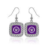 Crystal Studded Square Pendant Silver Dangle Earrings-Truman Bulldogs Circle
