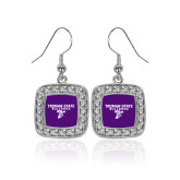 Crystal Studded Square Pendant Silver Dangle Earrings-Bulldog T