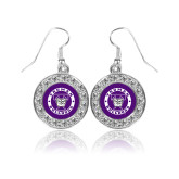 Crystal Studded Round Pendant Silver Dangle Earrings-Truman Bulldogs Circle