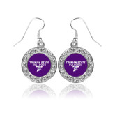 Crystal Studded Round Pendant Silver Dangle Earrings-Bulldog T