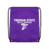 Purple Drawstring Backpack-Bulldog T