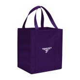 Non Woven Purple Grocery Tote-Bulldog T
