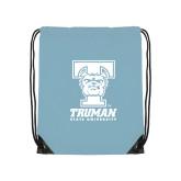 Nylon Light Blue Drawstring Backpack-Primary Mark