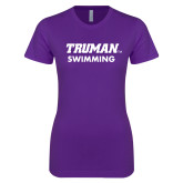 Next Level Ladies SoftStyle Junior Fitted Purple Tee-Swimming