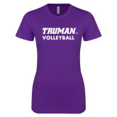 Next Level Ladies SoftStyle Junior Fitted Purple Tee-Volleyball