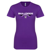 Next Level Ladies SoftStyle Junior Fitted Purple Tee-Football Design