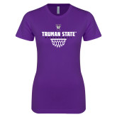 Next Level Ladies SoftStyle Junior Fitted Purple Tee-Basketball Net Design
