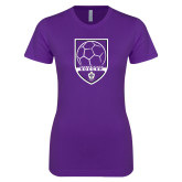 Next Level Ladies SoftStyle Junior Fitted Purple Tee-Soccer Design