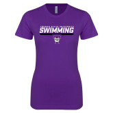 Next Level Ladies SoftStyle Junior Fitted Purple Tee-Swimming Design