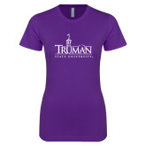 Next Level Ladies SoftStyle Junior Fitted Purple Tee-Truman University Mark