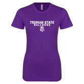 Next Level Ladies SoftStyle Junior Fitted Purple Tee-Bulldog