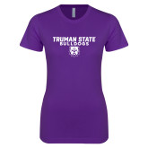 Next Level Ladies SoftStyle Junior Fitted Purple Tee-Bulldog Head
