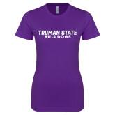 Next Level Ladies SoftStyle Junior Fitted Purple Tee-Bulldogs Wordmark