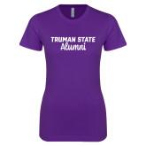 Next Level Ladies SoftStyle Junior Fitted Purple Tee-Alumni Script