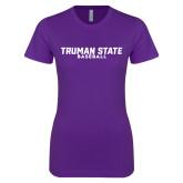 Next Level Ladies SoftStyle Junior Fitted Purple Tee-Bulldogs Baseball