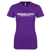 Next Level Ladies SoftStyle Junior Fitted Purple Tee-Bulldogs Basketball
