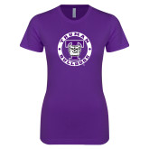 Next Level Ladies SoftStyle Junior Fitted Purple Tee-Truman Bulldogs Circle