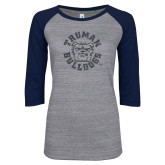 ENZA Ladies Athletic Heather/Navy Vintage Triblend Baseball Tee-Secondary Mark Graphite Soft Glitter