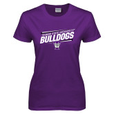 Ladies Purple T Shirt-Slanted Design