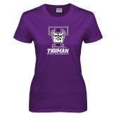 Ladies Purple T Shirt-Primary Mark Distressed