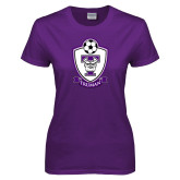 Ladies Purple T Shirt-Soccer