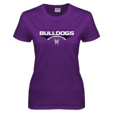 Ladies Purple T Shirt-Football Design