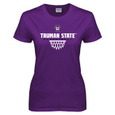 Ladies Purple T Shirt-Basketball Net Design