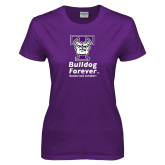 Ladies Purple T Shirt-Bulldog Forever Stacked