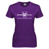 Ladies Purple T Shirt-Bulldog Forever