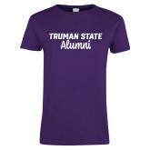 Ladies Purple T Shirt-Alumni Script