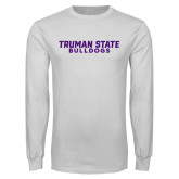 White Long Sleeve T Shirt-Bulldogs Wordmark