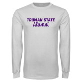 White Long Sleeve T Shirt-Alumni Script