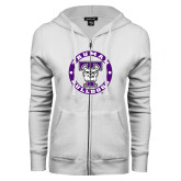 ENZA Ladies White Fleece Full Zip Hoodie-Truman Bulldogs Circle