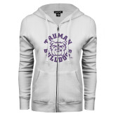 ENZA Ladies White Fleece Full Zip Hoodie-Secondary Mark Purple Glitter