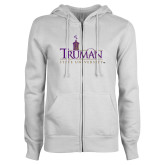 ENZA Ladies White Fleece Full Zip Hoodie-Truman University Mark